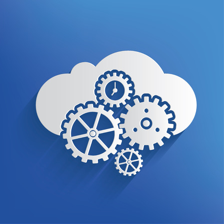 cloud: Cloud computing on blue backgroundclean vector