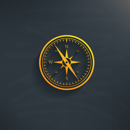 Compass on blackboard backgroundclean vector Illustration