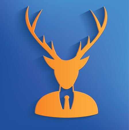 anthropomorphism: Deer on blue backgroundclean vector