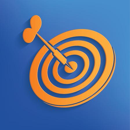 objectivity: Dart on blue backgroundclean vector Illustration