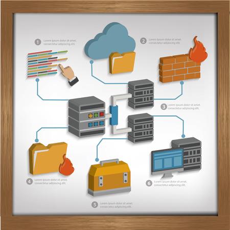 photo printer: Database server design on whiteboard backgroundclean vector Illustration