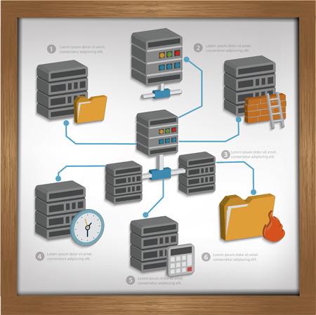 database: Database server design on whiteboard backgroundclean vector Illustration