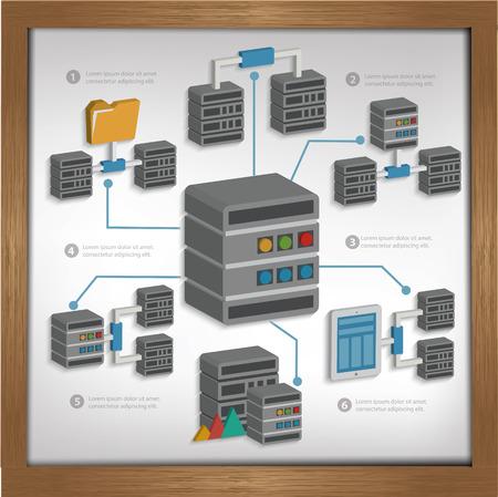 harddisk: Database server design on whiteboard backgroundclean vector Illustration