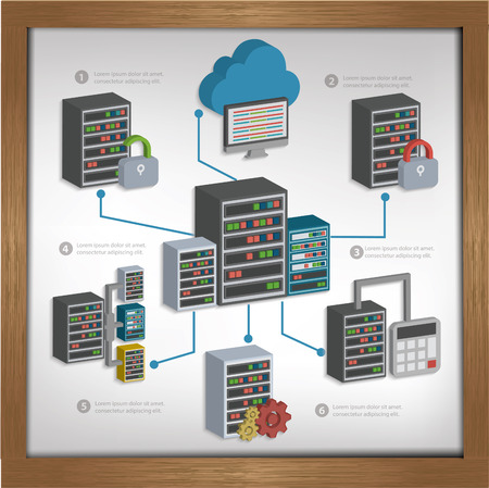 global settings: Database serverCloud computing design on whiteboard backgroundclean vector