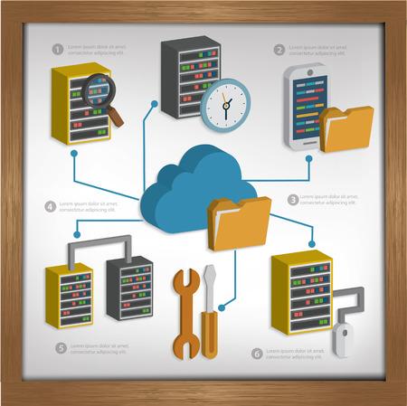 big sign: Database serverCloud computing design on whiteboard backgroundclean vector