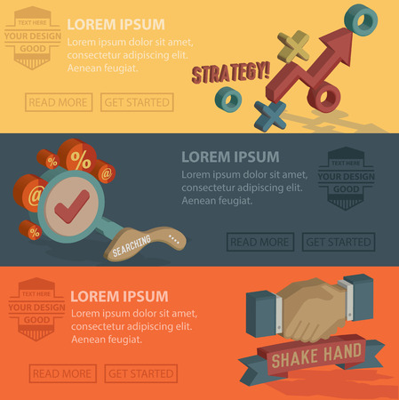 Strategy designBusiness marketing bannerFlat design conceptsConcepts for web banners Vector