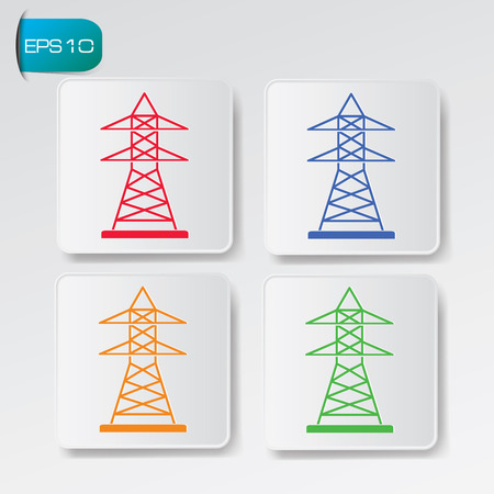 lighting column: Electricity industry on button backgroundclean vector