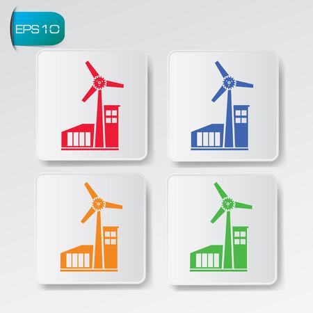 windfarm: Wind turbine on button backgroundclean vector Illustration