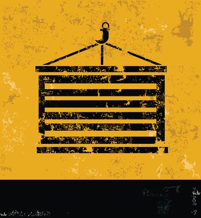 dockyard: Container design on yellow backgroundgrunge vector
