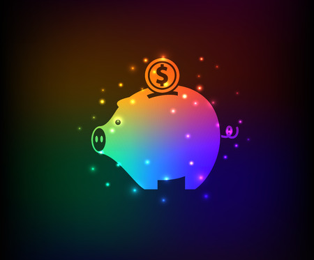 Piggy bank design on rainbow backgroundclean vector Vector