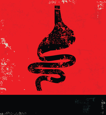 small intestines: Stomach design on grunge background red version