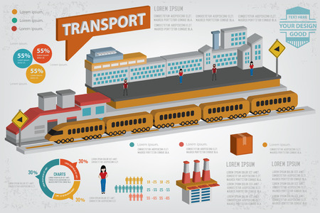 commerce and industry: Logistic transport designthree dimensionclean vector
