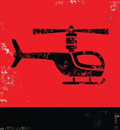 transposition: Helicopter design on grunge background red version