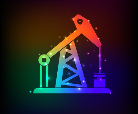 oil refinery: Oil industry design on rainbow concept backgroundclean vector