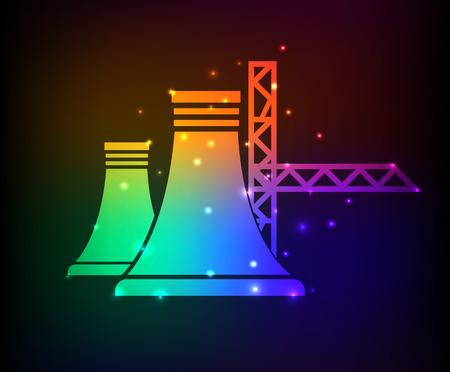 Nuclear design on rainbow concept backgroundclean vector