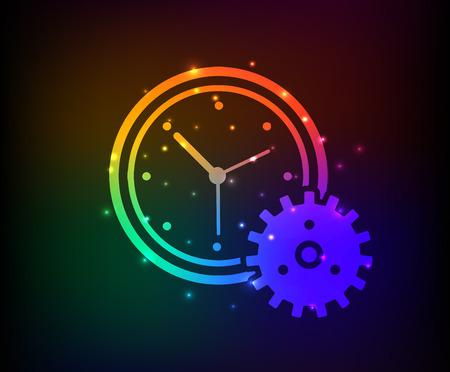 Clock design on rainbow concept backgroundclean vector Vector