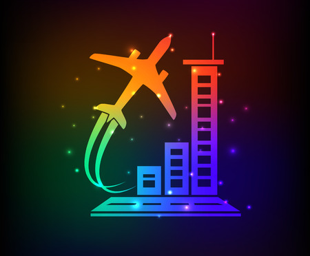 private jet: Airplane design on rainbow concept backgroundclean vector