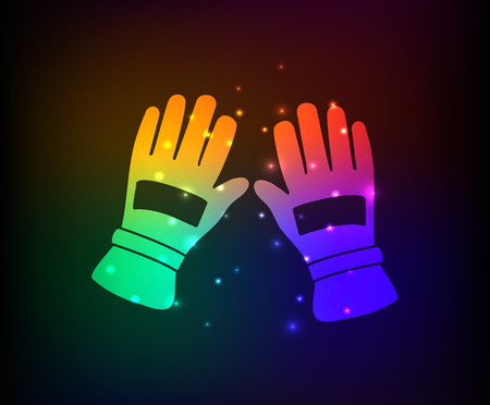 Glove industry design on rainbow concept backgroundclean vector Vector
