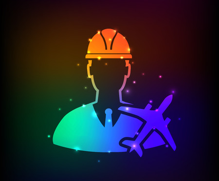 Airplaneengineering design on rainbow concept backgroundclean vector Vector