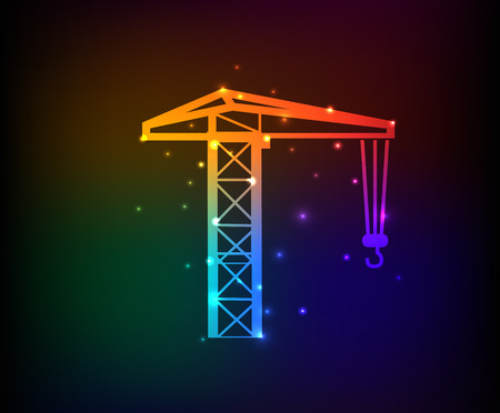 Construction industry design on rainbow concept backgroundclean vector Vector