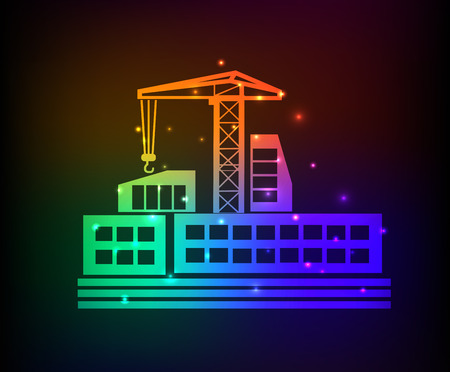 Construction design on rainbow concept backgroundclean vector Vector