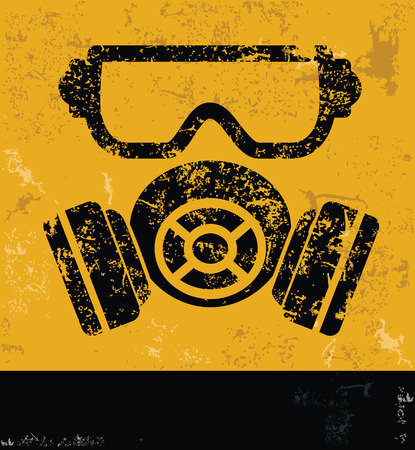 biological warfare: MaskIndustry design on yellow backgroundgrunge vector