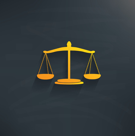 scale of justice: Justice scale on blackboard backgroundclean vector Illustration