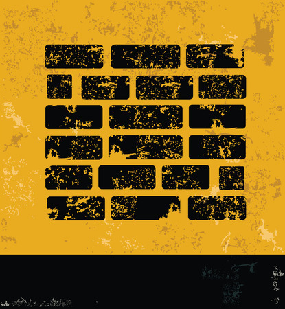 wall design: Wall design on yellow backgroundgrunge vector