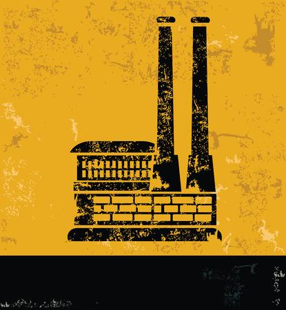hazardous to the environment: Industry design on yellow backgroundgrunge vector