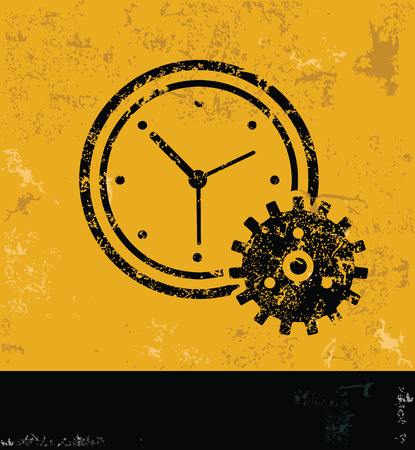 Clock design on yellow backgroundgrunge vector Vector