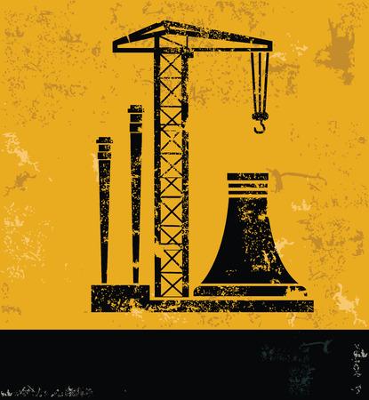 conveyer: Construction design on yellow backgroundgrunge concept vector Illustration