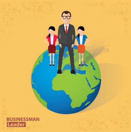 Businessman and global design on old background clean vector. Vector