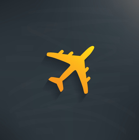 Airplane on blackboard backgroundclean vector Vector