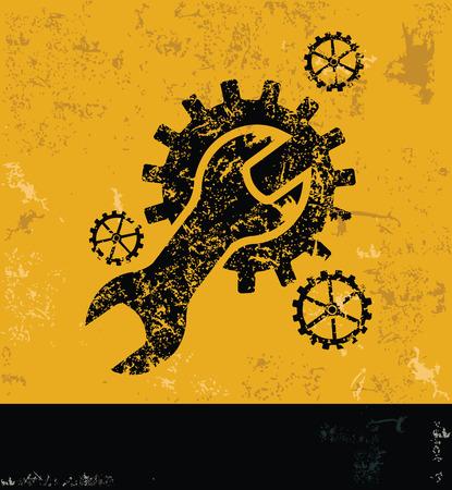reconditioning: Engineerindustry design on yellow backgroundgrunge concept vector