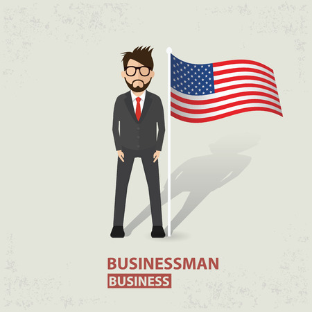 old background: America flag and businessman design on old background clean vector.