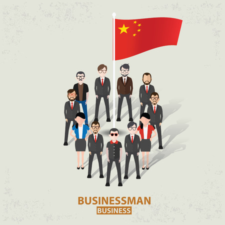 China teamworkbusinessman design on old backgroundclean vector Vector