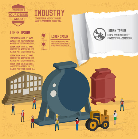 industry background: Factory and industry design on yellow background,clean vector