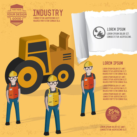 local supply: Truck and steel design on yellow background,clean vector Illustration