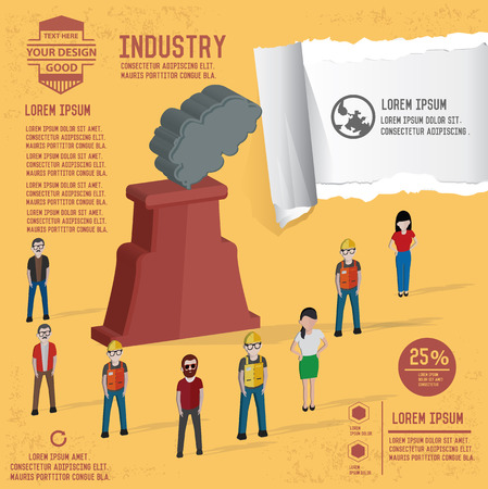 Nuclear and industry design on yellow background,clean vector Illustration