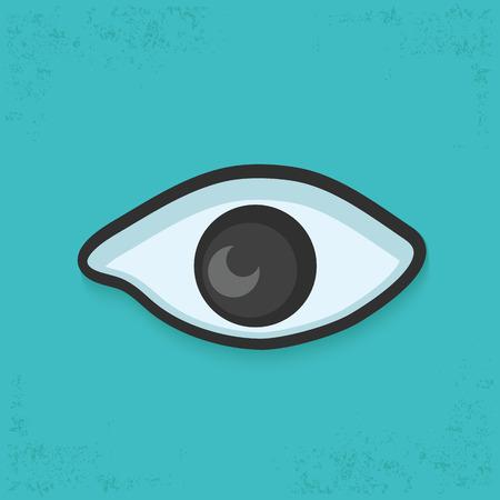 human eye: Eye design on blue background,clean vector Illustration