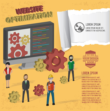linking: Website optimisation design on yellow background,clean vector