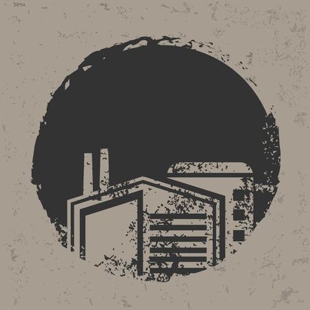 Factory design on grunge background, grunge vector Illustration