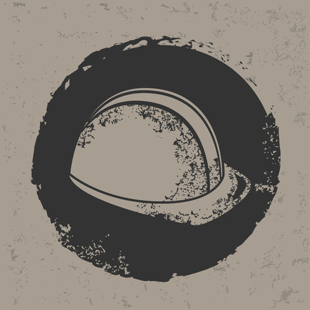 hard cap: Hat security design on grunge background, grunge vector