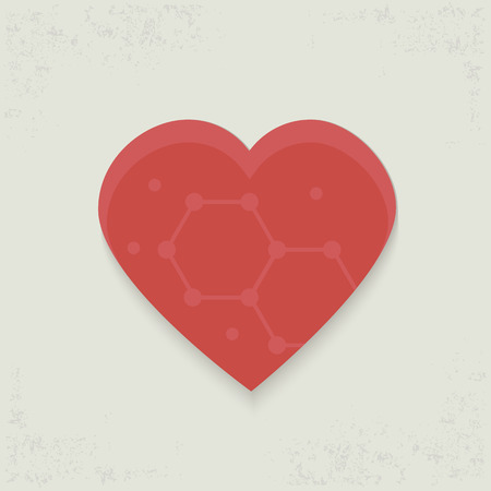 february 1: Heart design on old background,clean vector Illustration