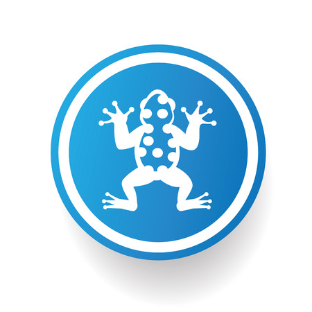 vector raster background: Frog on blue button background,on white background,clean vector Illustration