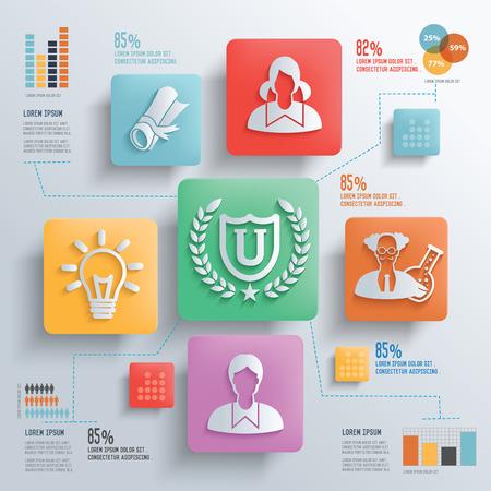 estuche: Educación y concepto Estudiante de diseño de fondo limpio, limpio vector
