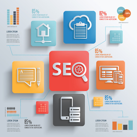 smm: SEO development and marketing concept design clean background,clean vector