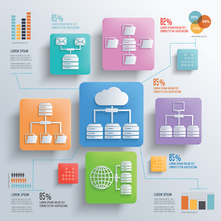 database: Database server and cloud computing concept design clean background,clean vector
