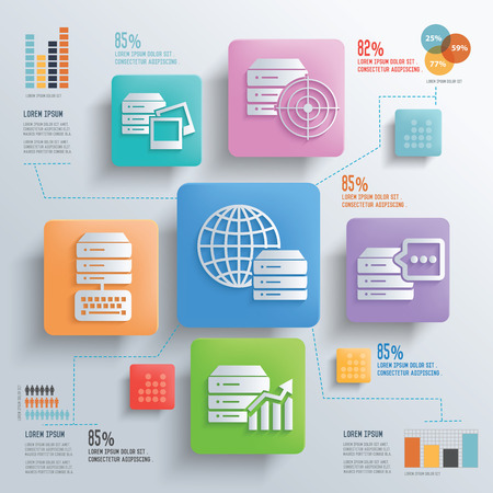 database concept: Database server and networking concept design clean background,clean vector