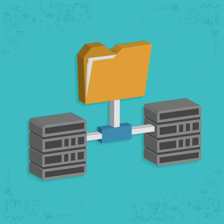 virtualization: Folder,connection,database server design,clean vector Illustration